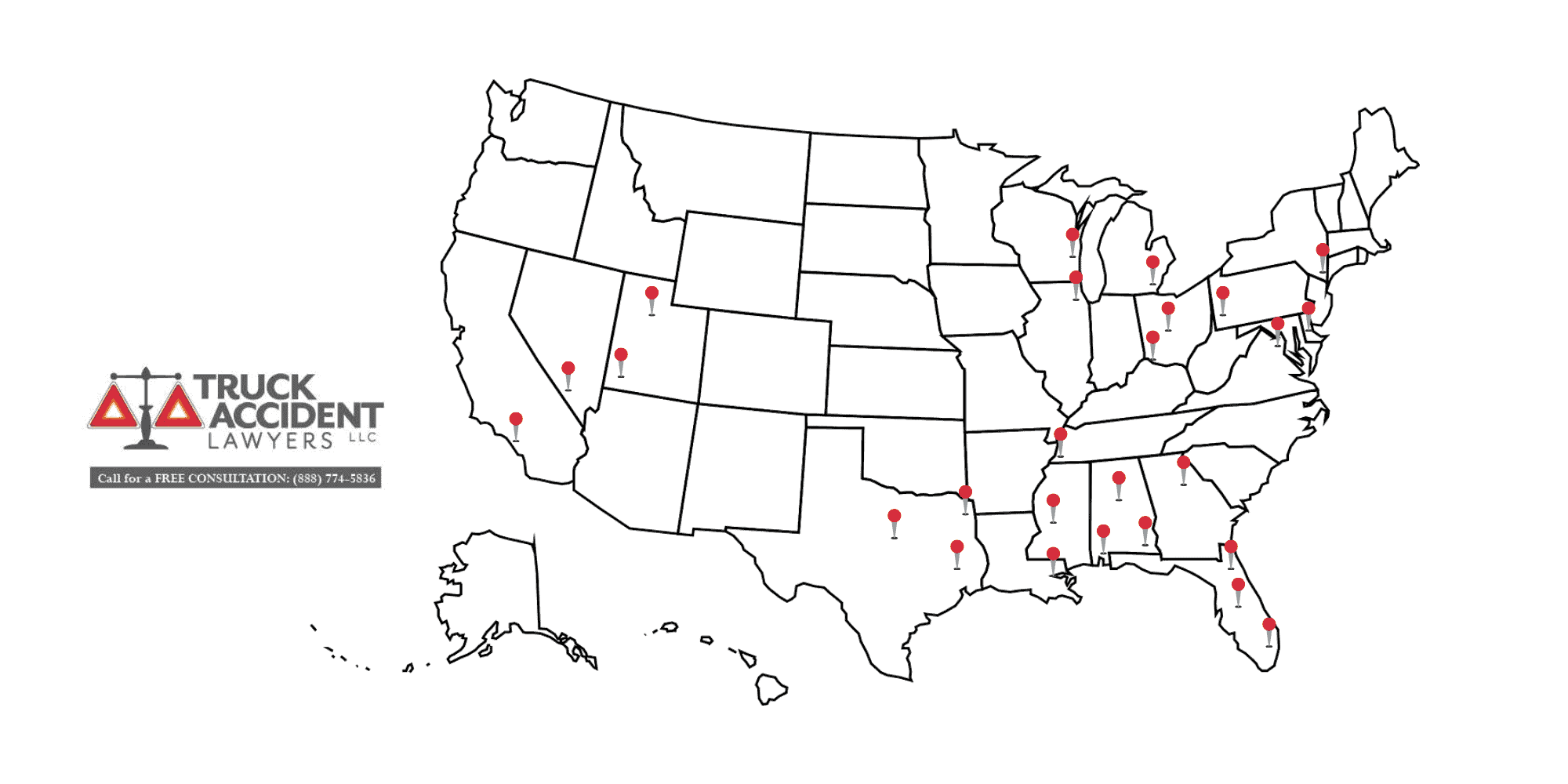 Truck Accident Lawyers Office Map